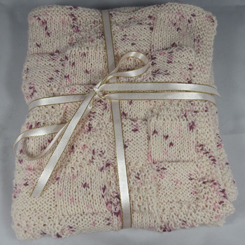 Knitted Pink Random Coloured Baby Blanket - FREE SHIPPING