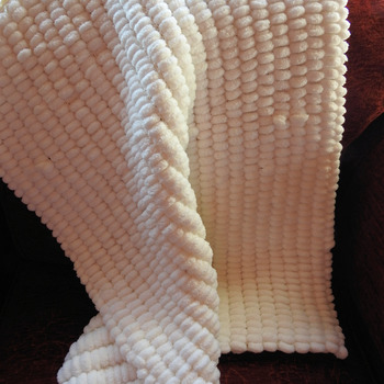 Knitted White Pom Pom Style Baby Blanket - FREE SHIPPING