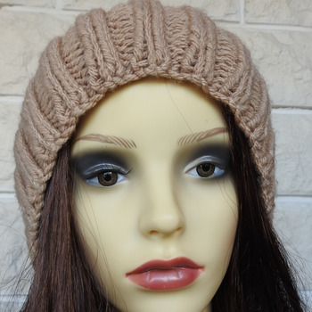 Knitted Women's Camel Coloured Ribbed Hat With Dark Brown Pom Pom - Free Shipping