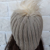 Knitted Women's Ribbed Camel Coloured Hat With A Cream Faux Fur Pom Pom - Free Shipping