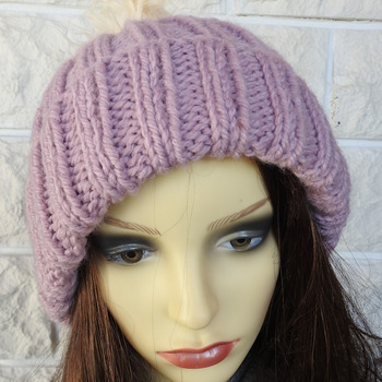Knitted Women's Two Style Pink Winter Hat With Fawn Coloured Pom Pom - Free Shipping