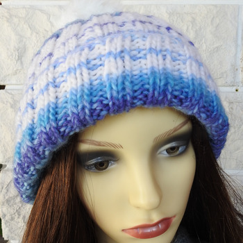 Knitted Women's Two Style Random Coloured Winter Hat With White Pom Pom - Free Shipping