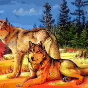 CRAFTS Wolves At Sunrise Cross Stitch Pattern***LOOK***