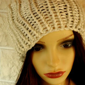 Woman's White Knitted Shimmery Winter Hat With A White Pom Pom - Free Shipping