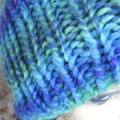 Women's Blue And Green Random Ribbed Hat With A Blue And Grey Pom Pom - Free Shipping