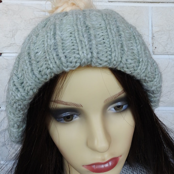 Women's Light Green Two Style Hat With Cream Faux Fur Pom Pom - Free Shipping