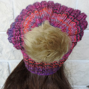 Women's Pink And Grey Random Two Style Hat With A Light Brown Pom Pom - Free Shipping
