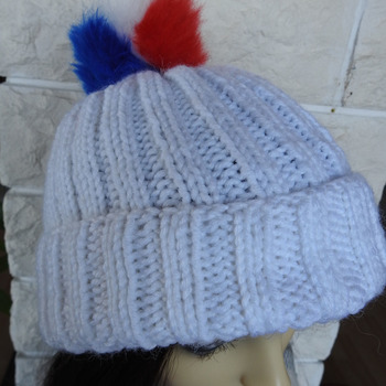 Women's White Two Style Hat With A Pom Pom Of The Colours Of The French Flag - Free Shipping
