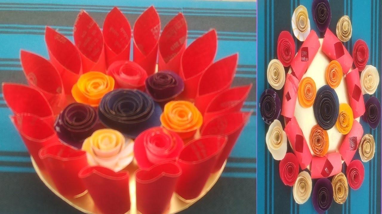 2 DIY beautiful flowers craft ideas with wedding card.