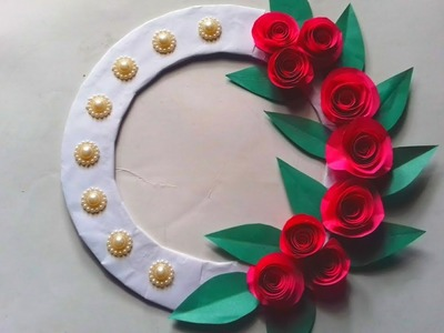 Beautiful Rose flower wall hanging. DIY. craft idea. How to make Rose flower wall hanging.