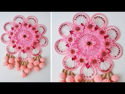 BEST OUT OF WASTE BANGELS AND WOOL CRAFT IDEA.DIY WOOLEN AND BANGELS WALL HANGING TORAN 407