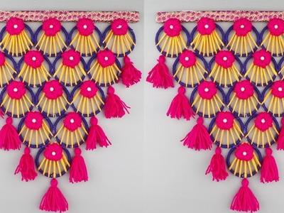 Best Out of Waste Old Banglas & Woolen Toran Making Craft Idea At Home.Waste Banglas Reuse Ideas