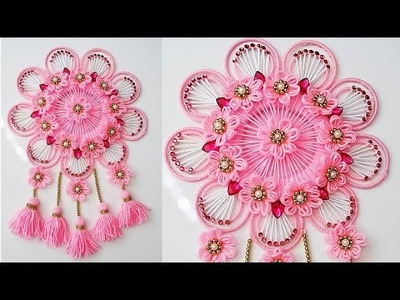 BEST OUT OF WOOL AND WASTE BANGELS CRAFT IDEA.DIY THREAD TORAN. DOOR HANGING DECORATION 2706