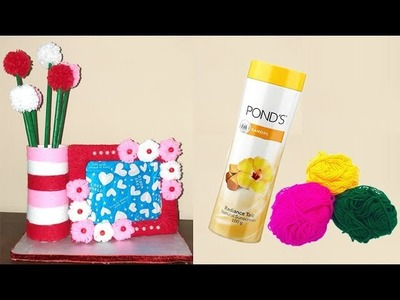 Best use of waste empty Powder bottle and Wool craft idea || DIY Room Decor || Easy Reuse ideas