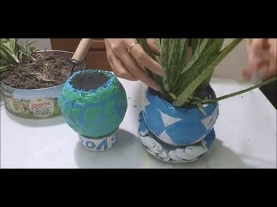 Cement craft how to make beautiful plant pots at home