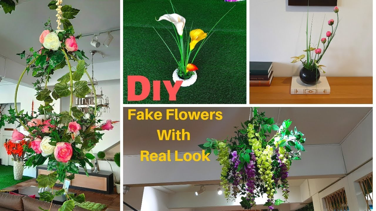 DIY-4 Craft Ideas Fake Plants and Flowers | Simple and Easy way to Decorate