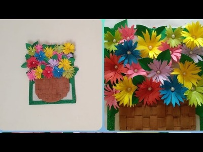 Diy amazing flower wall hanging from craft paper and cardboard\amazing craft idea