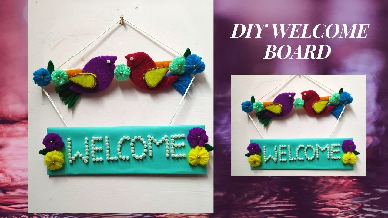 DIY Bird hanging welcome board|latest wall hanging board|craft out of waste cardboard and paper
