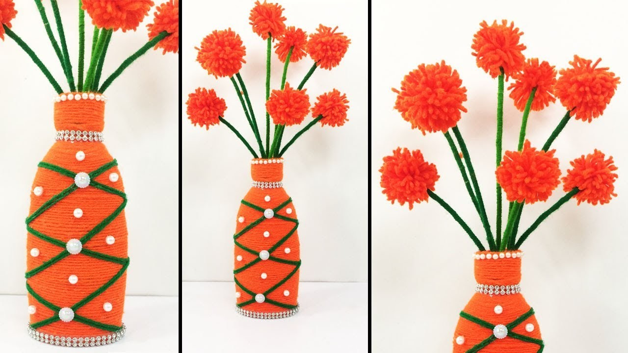 DIY Bottle and Wool Craft Idea. Easy and Best Bottle Reuse Ideas. Home Decor Craft #DotsDIY