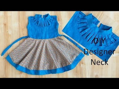 DIY Designer NECK Baby Frock Cutting & Stitching Full Tutorial