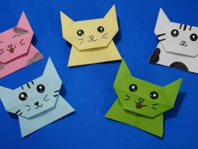 Diy easy Origami Cat craft ideas for kids
