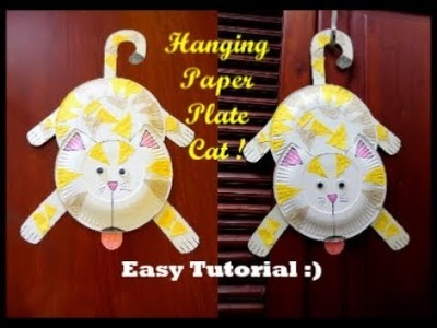 DIY Hanging Paper Plate Cat !! Paper Plate Cat Making ~~ Easy Tutorial. Instructions
