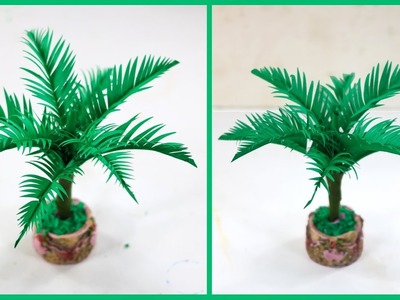 DIY - How to Make a Coconut Tree for Room Decoration_Amazing Craft ideas with Color Paper