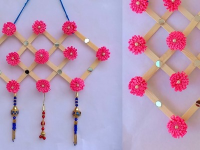 DIY : Icecream Stick Craft. How to make Wall hanging With Popsicle Stick.Paper flower Wall hanging