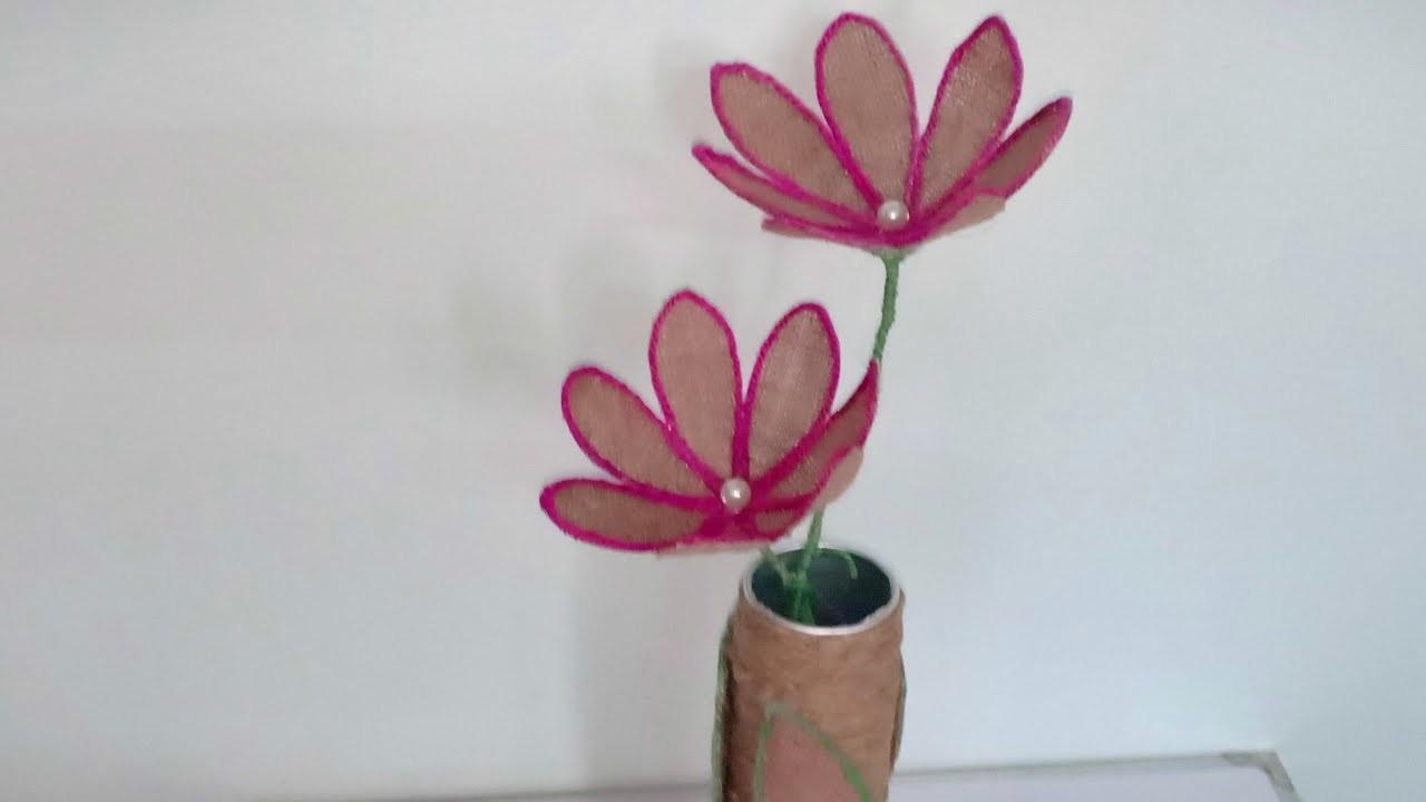 DIY Jute Flower Vase & Jute Flower. Jute Craft Idea.  Unique Jute Work. Handmade Jute Flower Vase