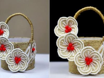 DIY Most beautiful jute craft basket ideas | Plastic bottle and jute rope flower basket unique idea