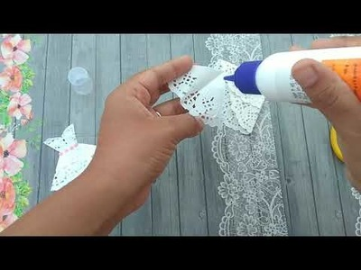 Doily paper dress || DIY easy craft || For Scrapbook | Cards || How to make paper dress