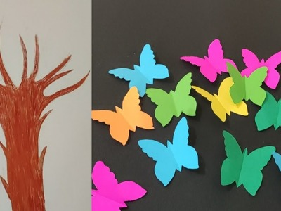 || Easy Paper Craft || Paper Butterfly Tree ||