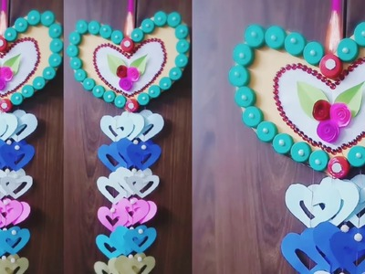 Easy way to make wall hanging.  bottle caps idea craft || wall hanging
