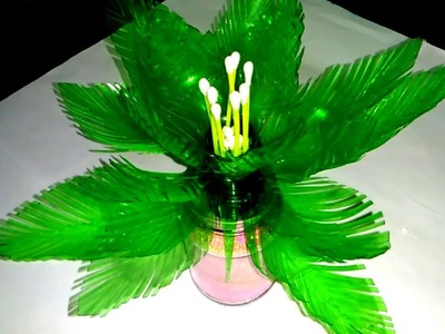 Empty plastic bottle vase making craft. Make artificial flower using plastic bottles and cotton buds