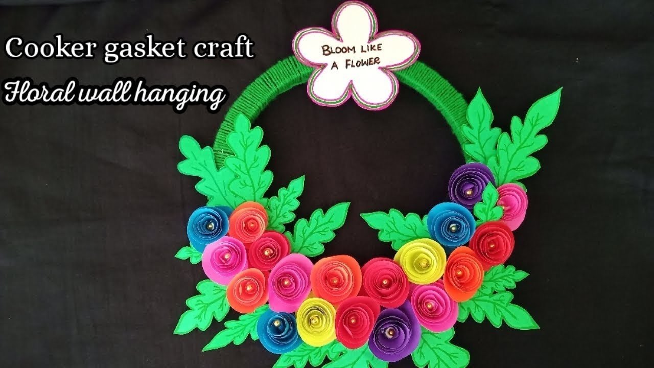 FLORAL WALL HANGING USING PRESSURE COOKER GASKET|RECYCLE CRAFT| DOOR HANGING|Nidharshini's passion