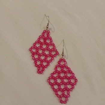 Handmade Red Diamond Shape Earrings