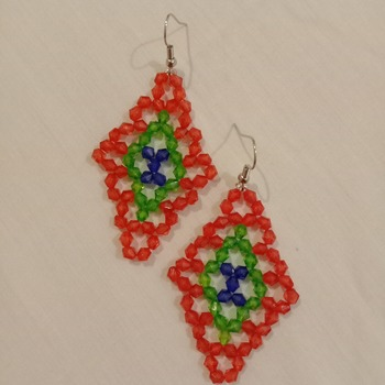 Handmade Tri Colour Diamond Shape Earrings