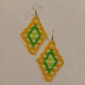 Handmade Tri Colour Diamond Shape Earrings