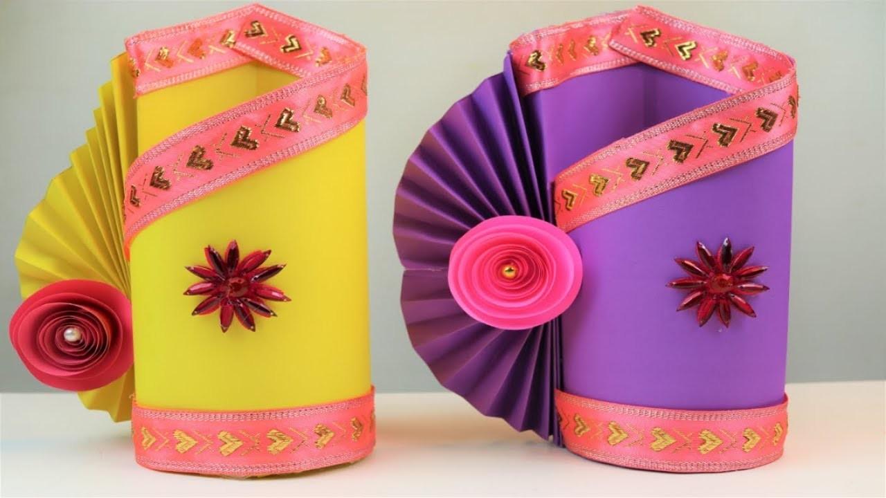 How To Make a paper Flower Vase - DIY  Paper Flower Vase tutorial | Paper craft ideas