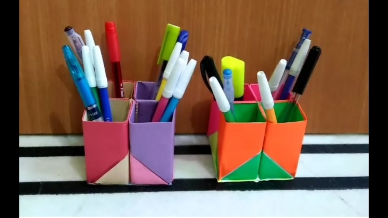 How to make a pen holder with craft papers step by step easily