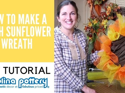 Mesh Sunflower Wreath DIY Tutorial