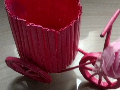 News Paper Craft Work.News Paper Cycle Pen Stand