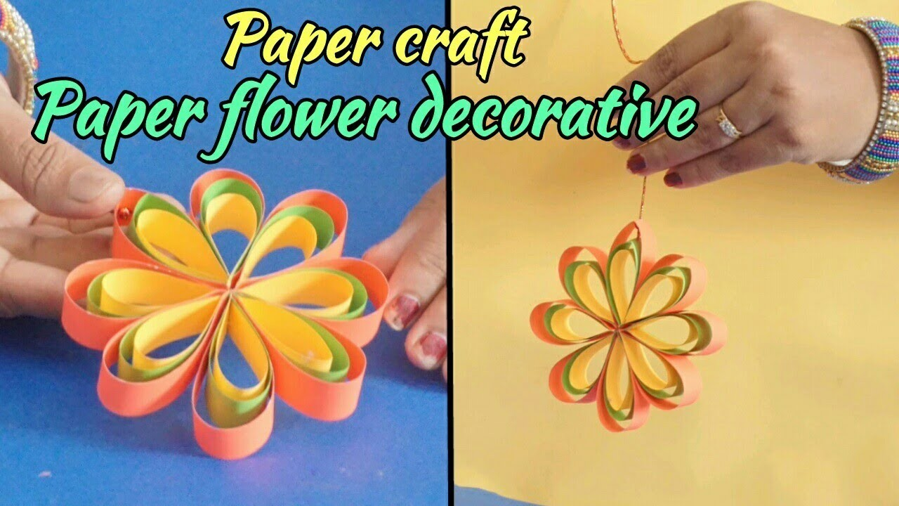 Paper craft DIY Hanging Paper Flower for Party and decoration