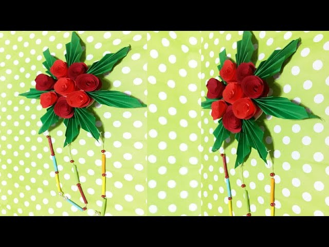 Paper Rose Wall Craft : Paper Flower Wall Hanging || DIY Paper Rose Flower Craft || Craft Idea