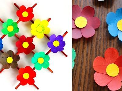 Plastic Bottle  Flower Wall Decoration - News Paper Craft - Home Decor Ideas