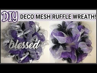 Purple and Silver Deco Mesh Wreath | RUFFLE METHOD | DIY FRONT DOOR WREATH | CREATIVELYHERS