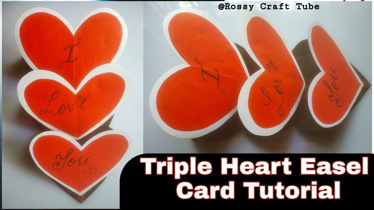 Triple Heart Easel Card Tutorial | How to make | DIY valentine card by Rossy craft tube