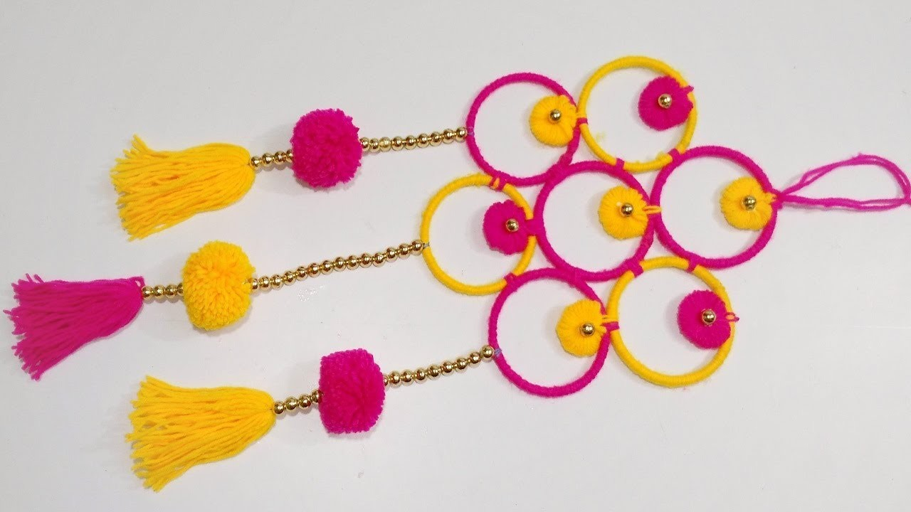 Wall hanging with old bangles, Wall hanging craft ideas, Wall hanging with waste material