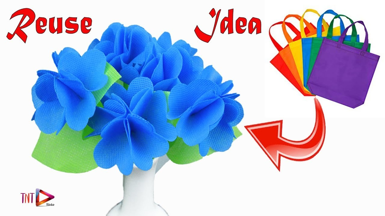 Waste shopping bag stick flower craft | Flower made by carry bags | Amazing flower making