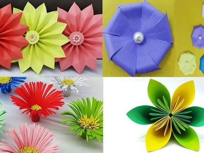 Best 4 Easy Paper Flowers Tutorial - DIY Paper Flower Design - YouTube